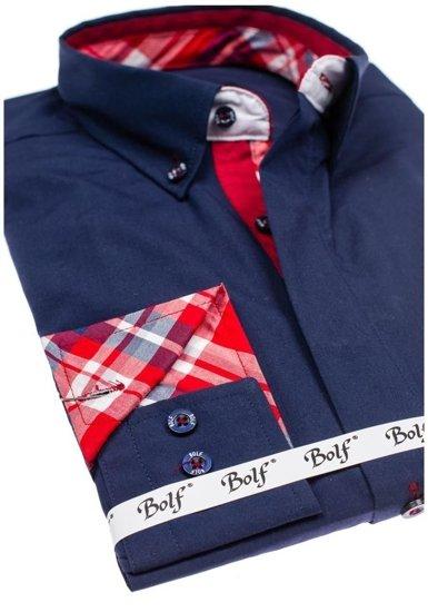Tmavě modrá pánská elegantní košile s dlouhým rukávem Bolf 6930
