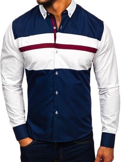 Tmavě modrá pánská elegantní košile s dlouhým rukávem Bolf 9706
