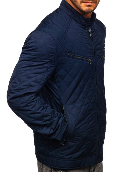 Tmavě modrá pánská elegantní přechodová bunda Bolf EX2058