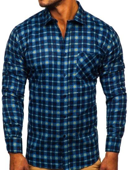 Tmavě modrá pánská flanelová košile s dlouhým rukávem Bolf F9