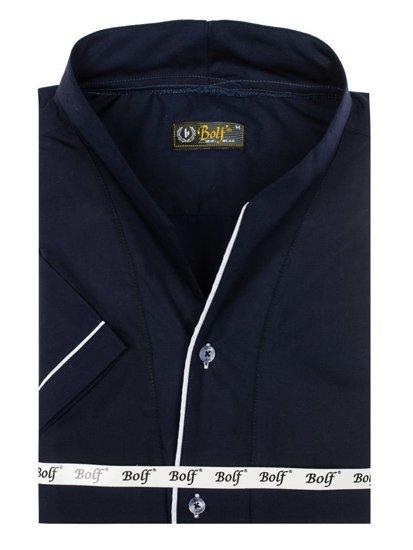 Tmavě modrá pánská košile s krátkým rukávem Bolf 5518