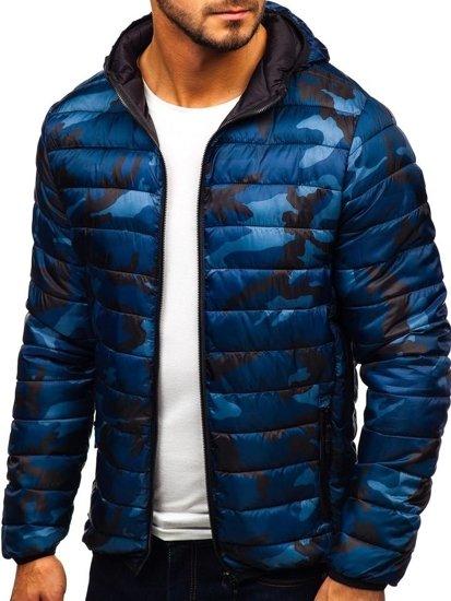 Tmavě modrá pánská maskáčová sportovní přechodová bunda Bolf LY1001-1