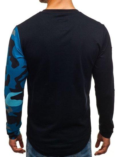 Tmavě modrá pánská mikina bez kapuce Bolf 0744