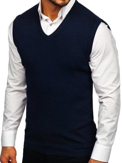 Tmavě modrá pánská pletená vesta Bolf H1939