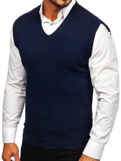 Tmavě modrá pánská pletená vesta Bolf H1950