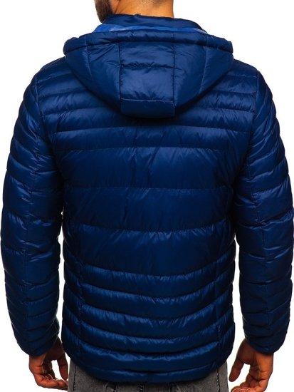 Tmavě modrá pánská prošívaná sportovní zimní bunda Bolf 50A215