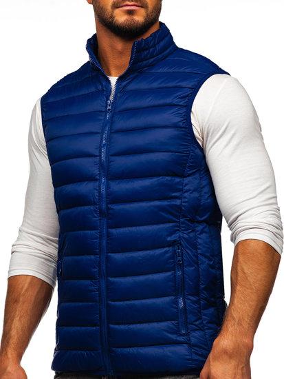 Tmavě modrá pánská prošívaná vesta bez kapuce Bolf LY32