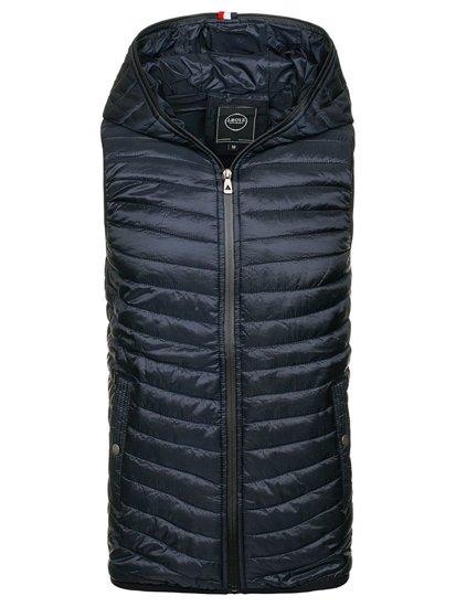 Tmavě modrá pánská prošívaná vesta s kapucí Bolf 1001