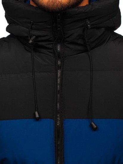 Tmavě modrá pánská prošíváná vesta s kapucí Bolf 1189