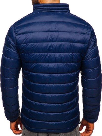 Tmavě modrá pánská prošívaná zimní bunda Bolf 1119