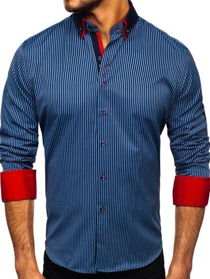 Tmavě modrá pánská proužkovaná košile s dlouhým rukávem Bolf 2751