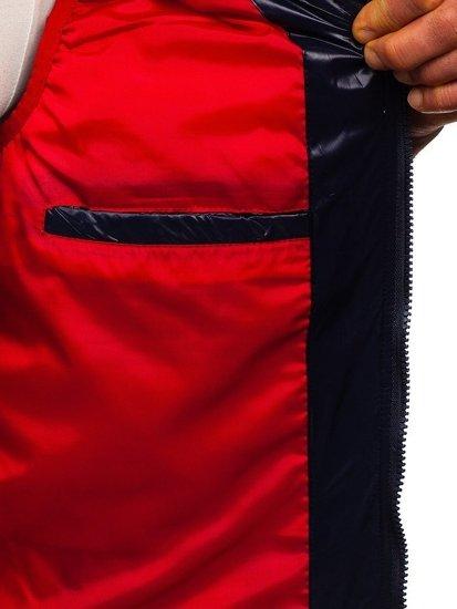Tmavě modrá pánská vesta s kapucí Bolf 6105
