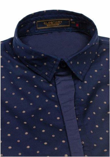Tmavě modrá pánská vzorovaná košile s dlouhým rukávem Bolf 1756