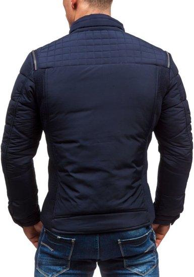 Tmavě modrá pánská zimní bunda Bolf 3048