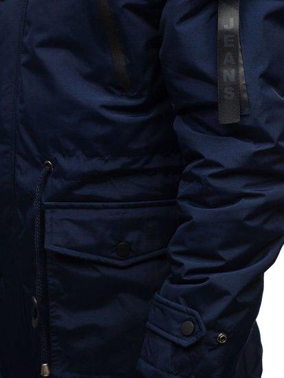 Tmavě modrá pánská zimní parka Bolf R102