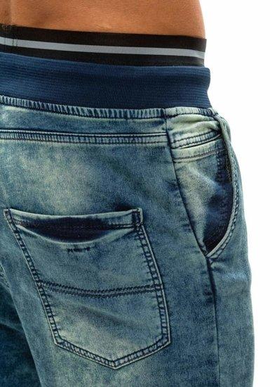 Tmavě modré pánské džínové baggy kalhoty Bolf 007B