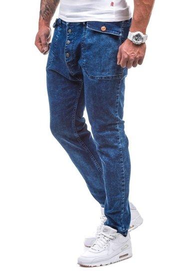 Tmavě modré pánské džínové jogger kahoty Bolf 811