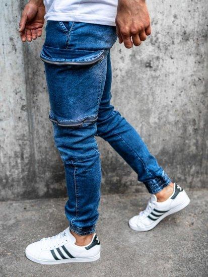 Tmavě modré pánské džínové jogger kalhoty Bolf KA365