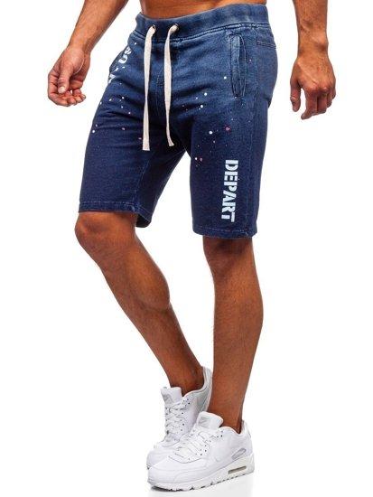 Tmavě modré pánské džínové kraťasy Bolf EX03