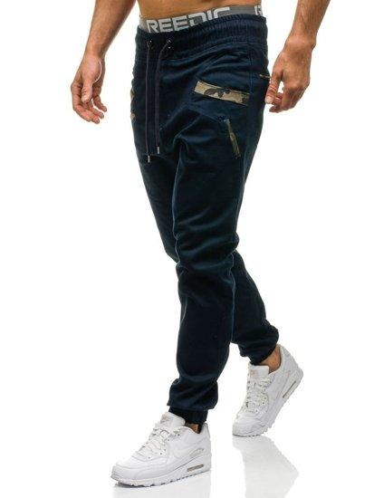 Tmavě modré pánské jogger kalhoty Bolf 0473