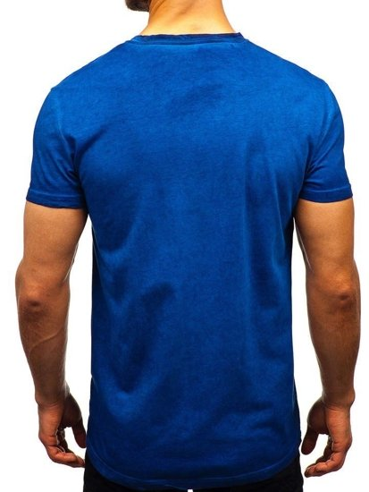 Tmavě modré pánské tričko bez potisku Bolf 100728
