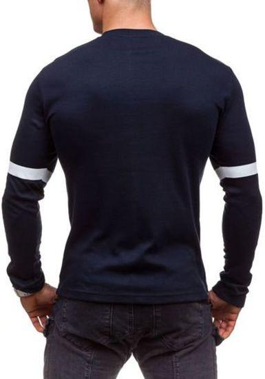 Tmavě modré pánské tričko s dlouhým rukávem a potiskem Bolf 4634