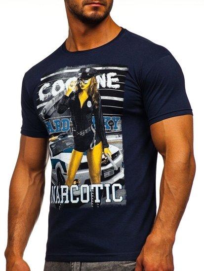 Tmavě modré pánské tričko s potiskem Bolf 004
