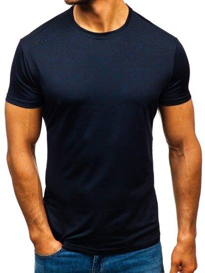 Tmavě modré pánské tričko bez potisku Bolf S01