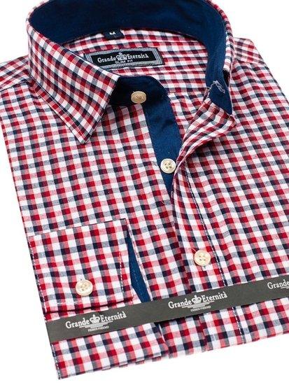 Tmavě modro-červená pánská kostkovaná košile s dlouhým rukávem Bolf GET10