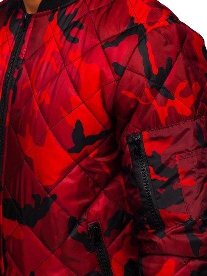 Tmavě modro-červený pánský přechodový bomber Bolf MY01