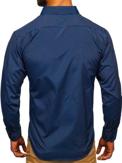 Tmavě modro-modrá pánská elegantní proužkovaná košile s dlouhým rukávem Bolf NDT9