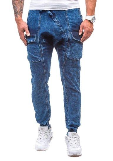 Tmavě modro-šedé pánské džínové baggy kalhoty Bolf 191