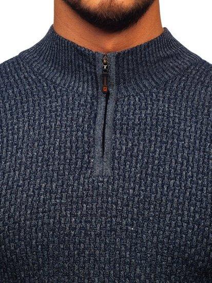 Tmavě modrý pánský propínací svetr Bolf 8255