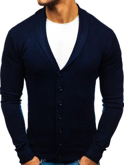 Tmavě modrý pánský propínací svetr Bolf 88101