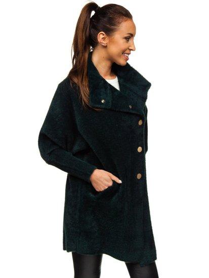 Tmavě zelený dámský kabát Bolf 7118-1