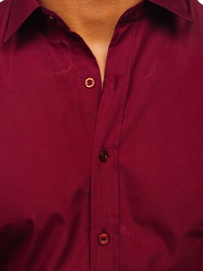 Vínová pánská elegantní košile s dlouhým rukávem Bolf 1703