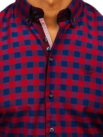 Vínová pánská kostkovaná košile s dlouhým rukávem Bolf 4701