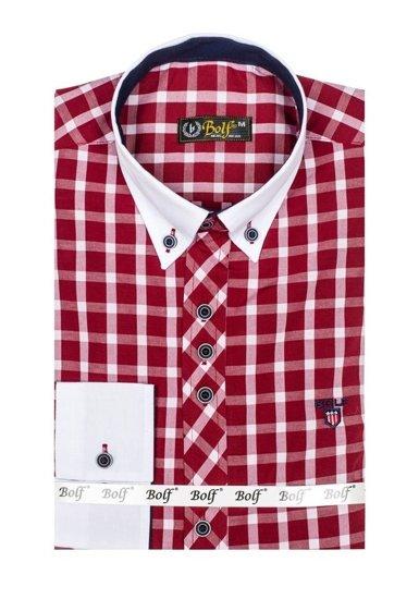 Vínová pánská kostkovaná košile s dlouhým rukávem Bolf 5737