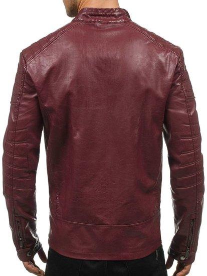 Vínová pánská koženková bunda Bolf EX388
