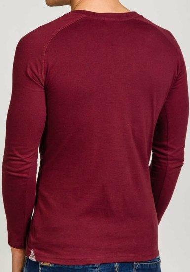 Vínové pánské tričko s dlouhým rukávem bez potisku Bolf 5547