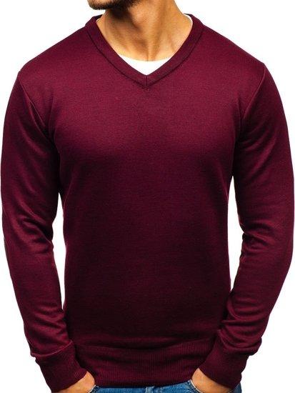 Vínový pánský svetr s výstřihem do V Bolf BM6108