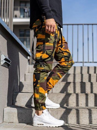 Zeleno-oranžové pánské jogger kapsáče Bolf 11105