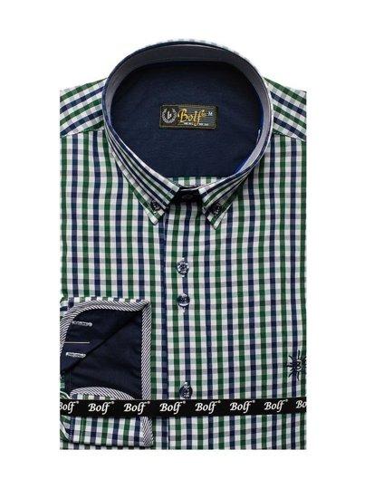 Zeleno-tmavě modrá pánská kostkovaná košile s dlouhým rukávem Bolf 4712