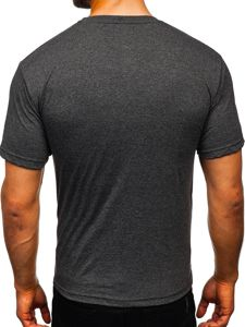 Antracitové pánské tričko s potiskem Bolf 14336