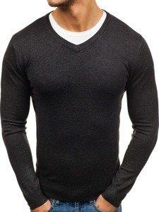 Antracitový pánský svetr s výstřihem do V Bolf 003