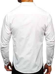 Bílá pánská elegantní košile s dlouhým rukávem Bolf 1769-A
