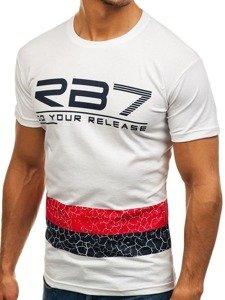 Bílé pánské tričko s potiskem Bolf 0008