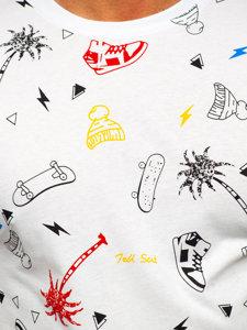 Bílé pánské tričko s potiskem Bolf 1150