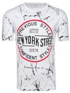 Bílé pánské tričko s potiskem Bolf 6301