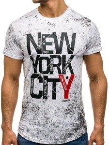 Bílé pánské tričko s potiskem Bolf s109